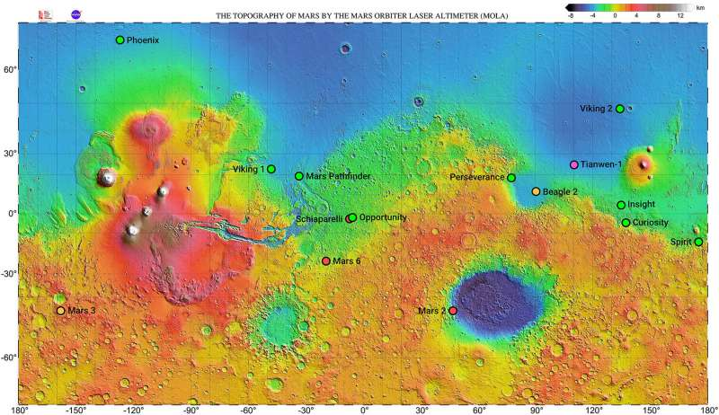 Mars map with landing site Tianwen 1