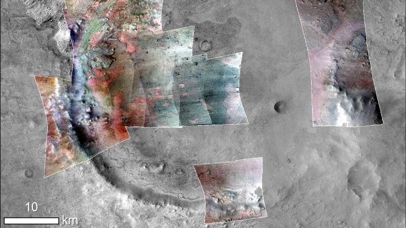 CRISM (MRO) mappa minerale del cratere Jezero