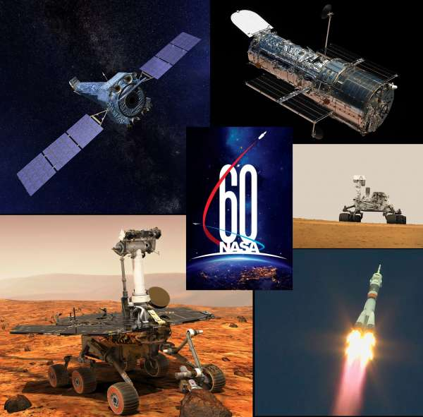 Dall'alto a sinistra in senso orario: Chandra X-Ray, Hubble Space Telescope, MSL Curiosity, Soyuz SM-10 launch, MER Opportunity